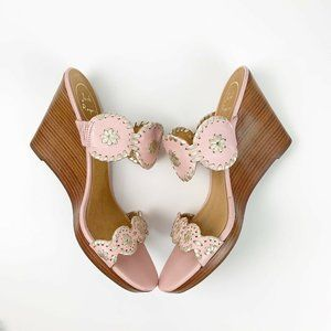 Jack Rogers Pink Metallic Gold Luccia Wedges